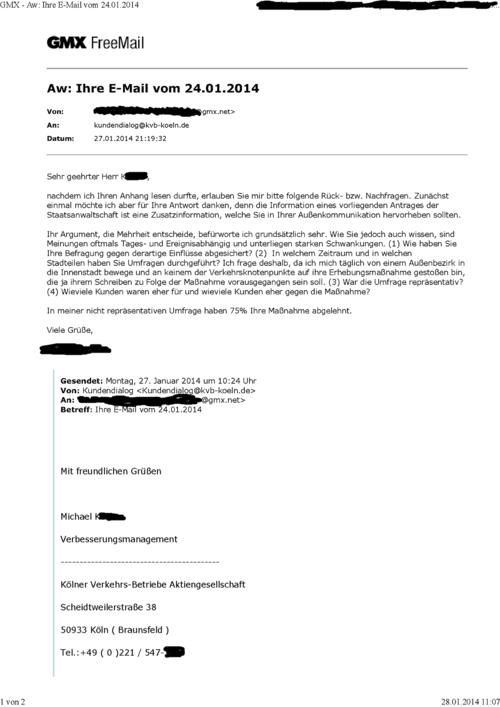 Schreiben an die KVB vom 27.1.2014